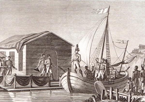 Встреча императоров Франции и России на реке Неман, 25 июня 1807 г.