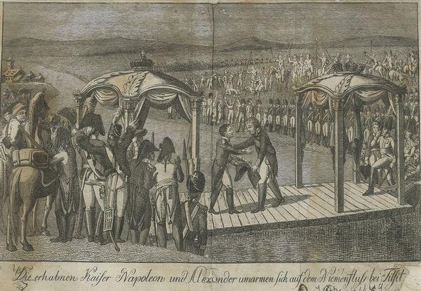 Объятия великих императоров Наполеона и Александра на реке Неман в Тильзите
